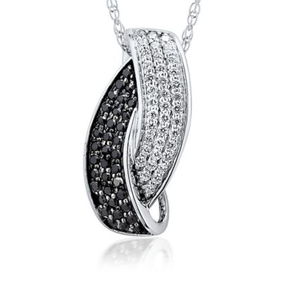 10K White Gold .32 cttw Black and White Diamond 18-Inch Chain Interlocking Pendant Necklace