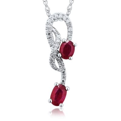 14K White Gold Ruby and .10 cttw Diamond 18-Inch Chain Free-Form Pendant Necklace