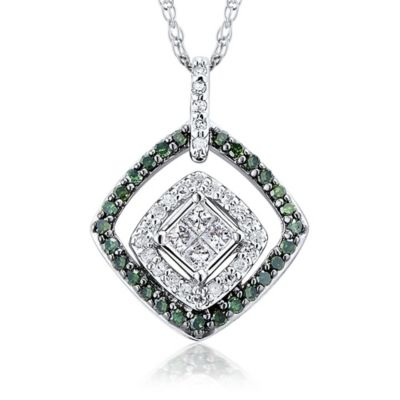 10K White Gold .33 cttw Green and White Diamond Double Halo Quad Princess Cut Pendant Necklace