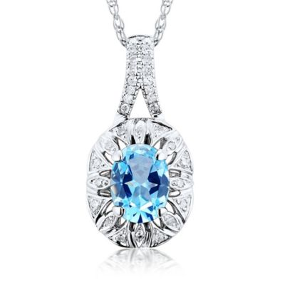 10K White Gold .07 cttw Diamond and .13 cttw Blue Topaz 18-Inch Chain Oval Halo Pendant Necklace
