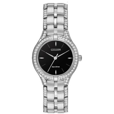 Citizen Eco-Drive Ladies' 28mm Silhouette Crystal Black Dial Watch in Stainless Steel