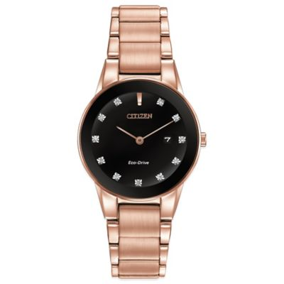 Citizen Eco-Drive Ladies' Axiom 30mm Diamond Accent Watch in Rose Goldtone Stainless Steel
