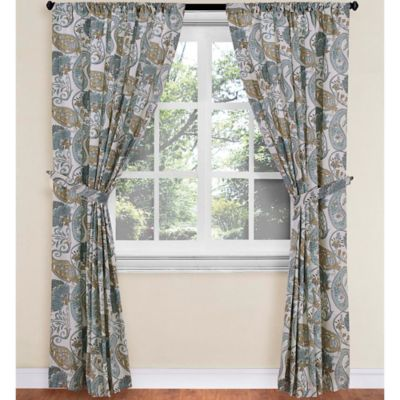 World Market® Paisley Floral Rod Pocket 63-Inch Window Curtain Panel in Blue