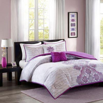 Intelligent Design Avani 4-Piece Twin/Twin XL Comforter Set in Purple