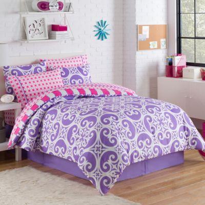 Kennedy 6-Piece Reversible Twin Comforter Set in Purple