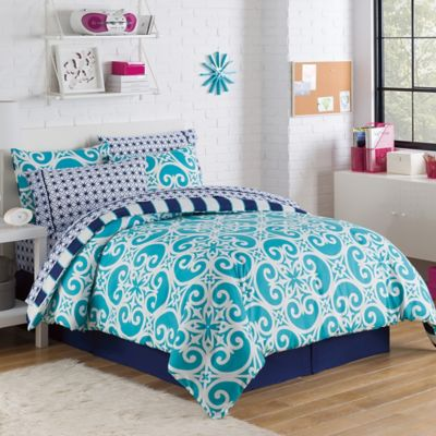 Kennedy 8-Piece Reversible Full Comforter Set in Teal