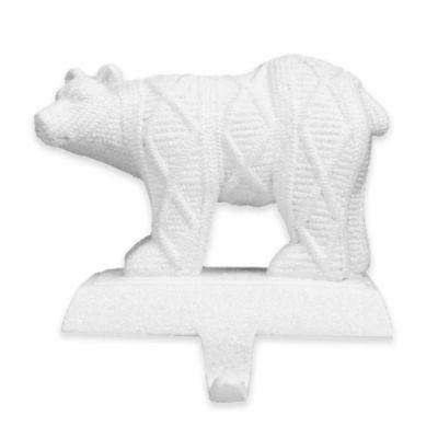 Sweater-Knit Christmas Polar Bear Stocking Hanger
