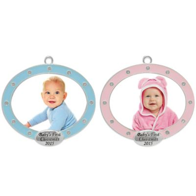 Silver-Plated Oval Frame Baby Christmas Ornament in Blue