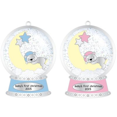 Silver-Plated Teddy Snow Globe Baby Christmas Ornament in Blue