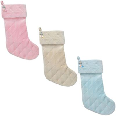 Quilted Velvet Christmas Baby Stocking with Teddy Charm in Cream