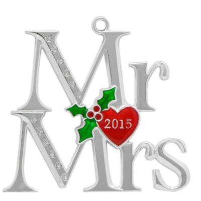 Harvey Lewis™ Silver-Plated 2015 Mr. & Mrs. Christmas Ornament Made with Swarovski® Elements