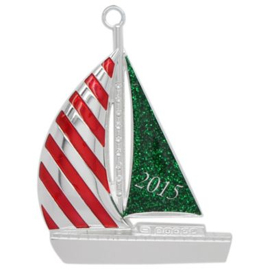Crystals from Swarovski® Harvey Lewis™ Silver-Plated 2015 Sailboat Christmas Ornament