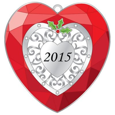 Silver-Plated 2015 Heart Christmas Ornament