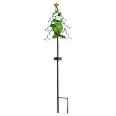 Solar Metal Christmas Tree with Crackle Glass Ball Stake