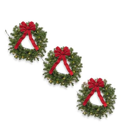 Pre-Lit Christmas Wreaths (Set of 3)