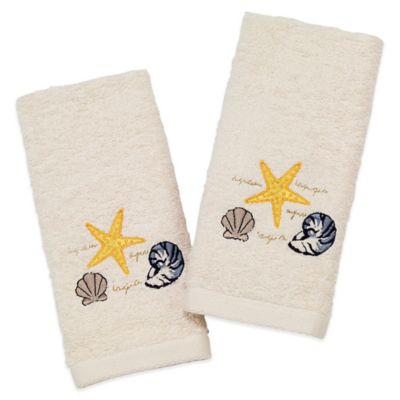 Avanti Coastal Cove 2-Pack Fingertip Towels in Ivory
