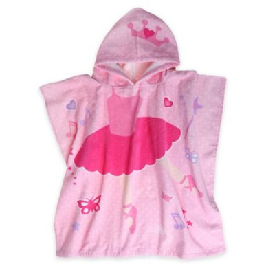 Kids Printed Ballerina Hooded Beach Towel in Pink