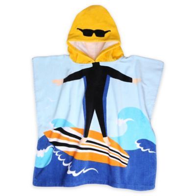 Kids Printed Surfer Hooded Beach Towel in Blue
