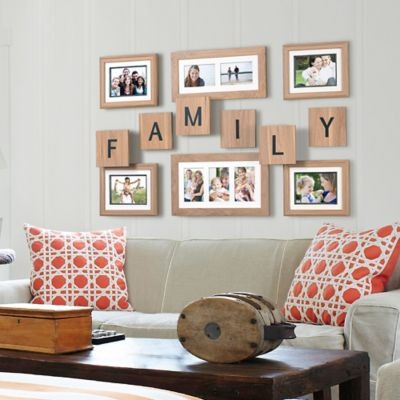 "Wallverbs™ 12-Piece ""Family"" Game Tile Frame Set in Natural Walnut"