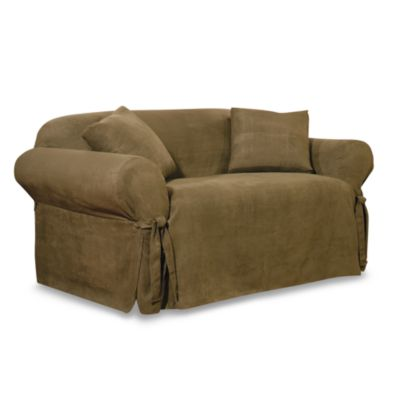 Sure Fit® Soft Suede Loveseat Furniture Cover in Olive