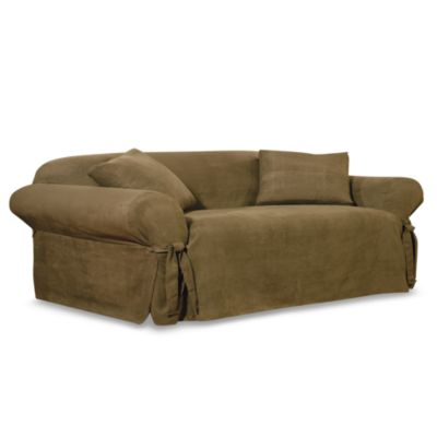Sure Fit® Soft Suede Sofa Slipcover in Olive