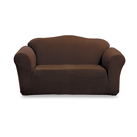 Sure Fit® Stretch Suede 2-Piece Loveseat Cover in Mocha