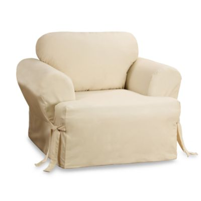 Sure Fit® Duck T-Cushion Chair Slipcover in Natural