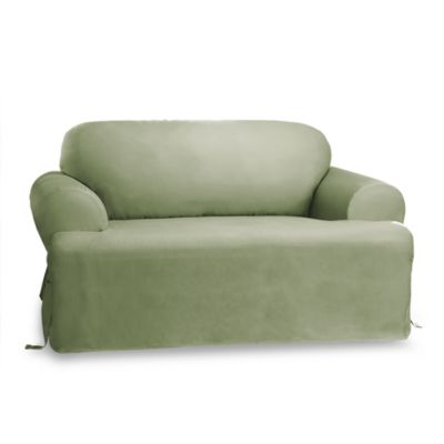 Duck Sage T-Cushion Loveseat Slipcover by Sure Fit®