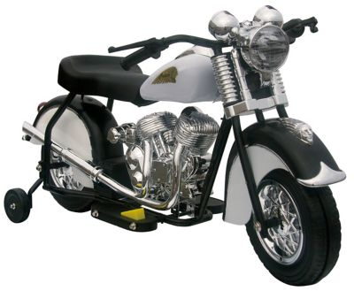 GiGGo Toys Little Vintage Battery Powered Ride-On Indian Motorcycle in Black/White