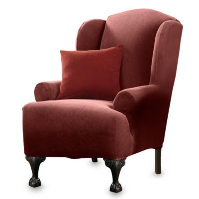 Stretch Pique Garnet Wing Chair Furniture Cover by Sure Fit®