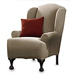 Stretch Pique Taupe Wing Chair Furniture Cover by Sure Fit®