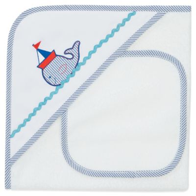 Elegant Baby® Nautical Whale Hooded Towel and Washcloth Set in White/Blue