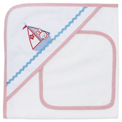 Elegant Baby® Nautical Bunny Hooded Towel and Washcloth Set in White/Red