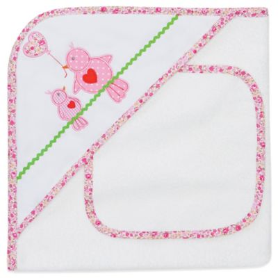Elegant Baby® Lovebirds Hooded Towel and Washcloth Set in White/Pink