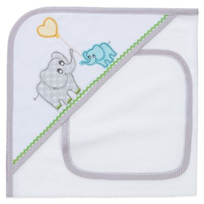 Elegant Baby® Elephant Hooded Towel and Washcloth Set in White/Grey