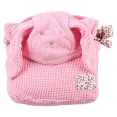 Dog Cuddly Hooded Towel with Apron Straps in Pink