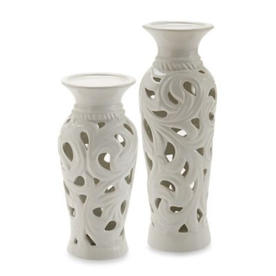 Large Ceramic Pierced Candle Holder in White