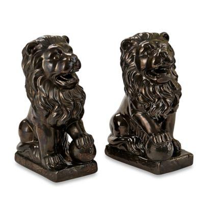 Privilege Silver Metallic Ceramic Lion Bookend