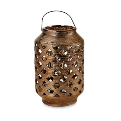 Gold Metallic Ceramic Pierced Lantern