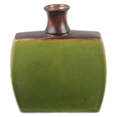 Square Ceramic Vase in Green/Brown
