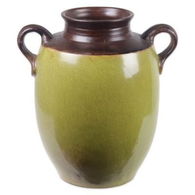 Round Ceramic Vase in Green/Brown