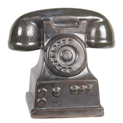 Silver Metallic Ceramic Telephone