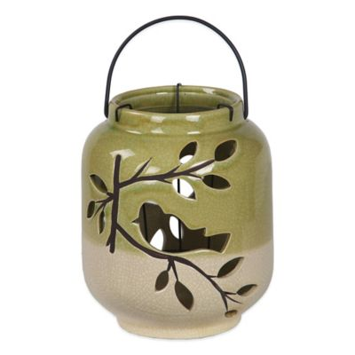 Green Bird Ceramic Pierced Lantern