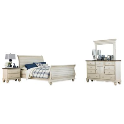 Hillsdale Pine Island 4-Piece King Sleigh Bedroom Set in Old White