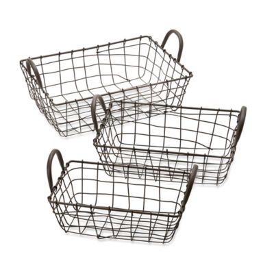 Urban Shop 3-Piece Metal Wire Storage Bin Set in Grey