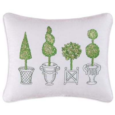 Boxwood Abby Topiary Embroidered Oblong Throw Pillow in Green/White