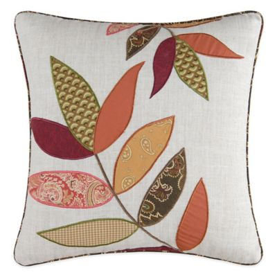 Avanni Appliqued Leaves Square Throw Pillow