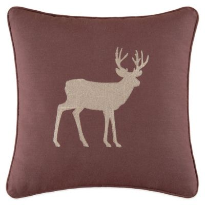 Dakota Embroidered Deer Square Throw Pillow in Multi