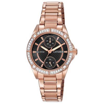 Citizen Eco-Drive Ladies' POV Swarovski® Black Dial Watch in Rose Goldtone Stainless Steel