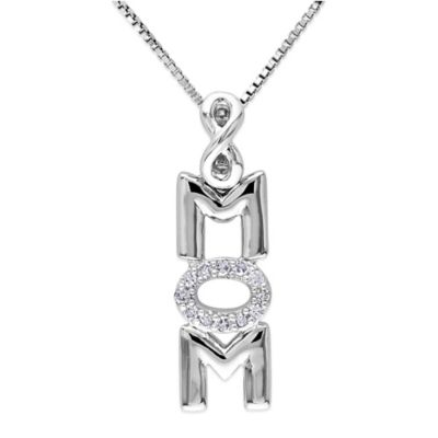 "Sterling Silver .06 cttw Diamond 18-Inch Chain Vertical ""Mom"" Pendant Necklace"